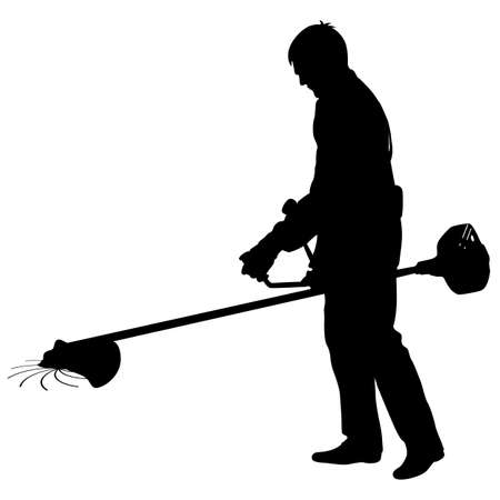 Silhouette worker of a garden cuts off  grass. Vector illustration.