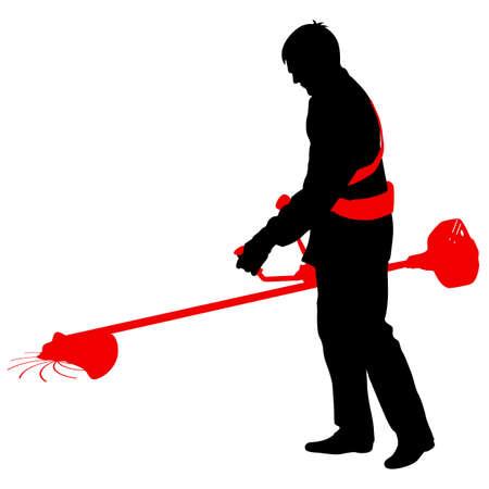 Silhouet werknemer van een tuin snijdt gras. Vector illustratie.