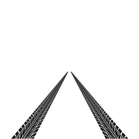skid: The black tire prints a vector illustration