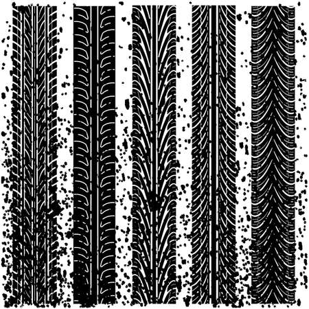 skidding: Set of detailed tire prints, vector illustration