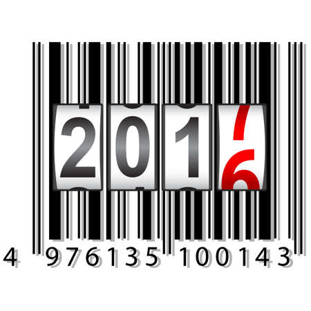 The New Year counter 2017, barcode vector illustration. Illustration