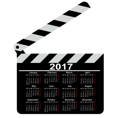 calendar for 2017 movie clapper board Vector Illustration.