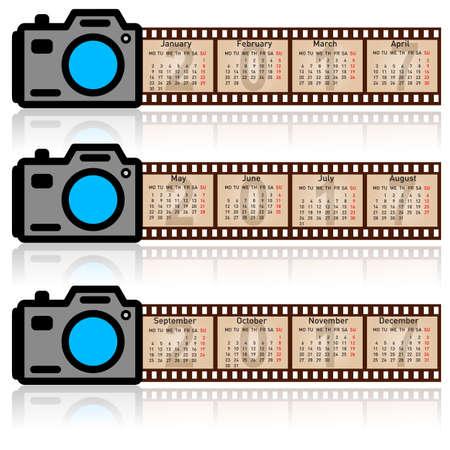 metallic  sun: Stylish calendar for 2017. Camera with 35mm film. Sundays first.