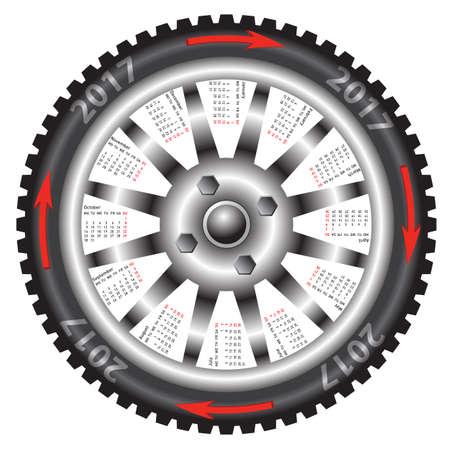 The Calendar 2017 year wheel black car Illustration