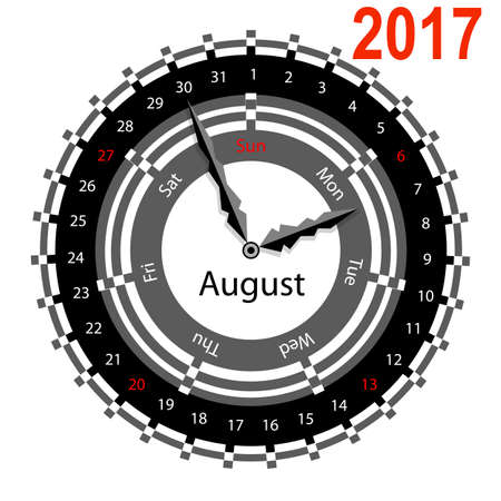 Creative idea of design of a Clock with circular calendar for 2017. Arrows indicate the day of the week and date. August