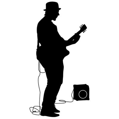 clarinet player: Silhouette musician plays the guitar. Vector illustration.