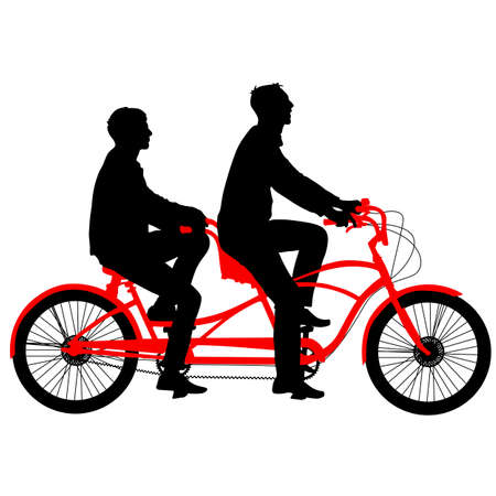tandem bicycle: Silhouette of two athletes on tandem bicycle. Vector illustration.