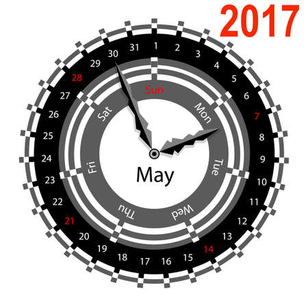 indicate: Creative idea of design of a Clock with circular calendar for 2017. Arrows indicate the day of the week and date. May