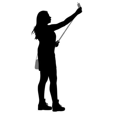 woman cell phone: Silhouettes woman taking selfie with smartphone on white background. Vector illustration. Illustration