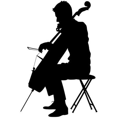cellist: Silhouettes a musician playing the cello. Vector illustration.