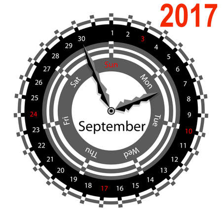 indicate: Creative idea of design of a Clock with circular calendar for 2017. Arrows indicate the day of the week and date. September