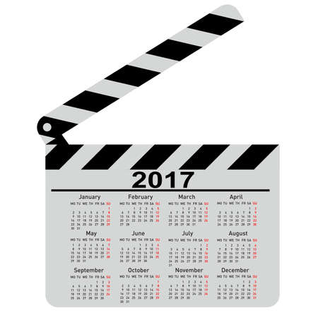 calendar for 2017 movie clapper board Vector Illustration. Zdjęcie Seryjne - 61777436