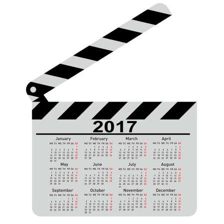 Calendrier pour 2017 carte film clapper Vector Illustration. Banque d'images - 61777436