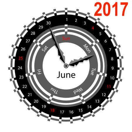 indicate: Creative idea of design of a Clock with circular calendar for 2017. Arrows indicate the day of the week and date. June