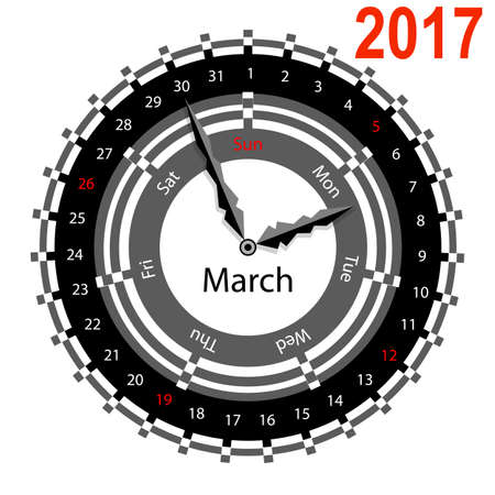 Creative idea of design of a Clock with circular calendar for 2017. Arrows indicate the day of the week and date. March Illustration