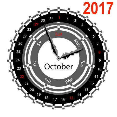 Creative idea of design of a Clock with circular calendar for 2017. Arrows indicate the day of the week and date. October Illustration