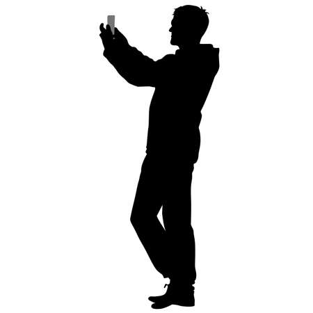 person silhouette: Silhouettes man taking selfie with smartphone on white background. Vector illustration.
