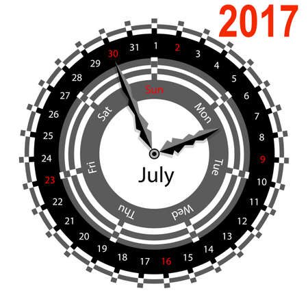 indicate: Creative idea of design of a Clock with circular calendar for 2017. Arrows indicate the day of the week and date. July Illustration