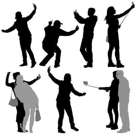 woman on cell phone: Silhouettes man and woman taking selfie with smartphone on white background Illustration