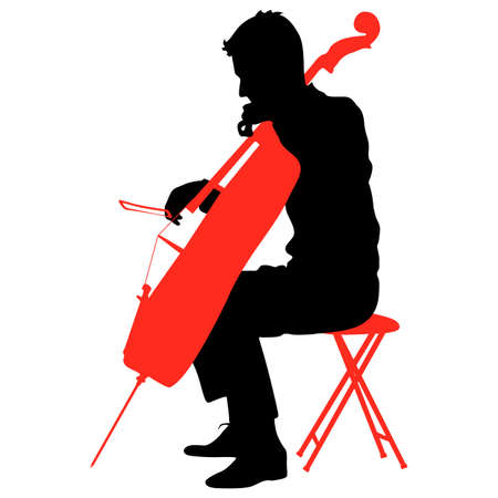 Silhouettes a musician playing the cello