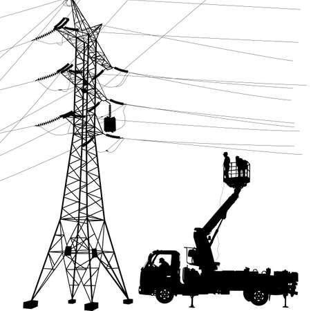 Electrician, making repairs at a power pole