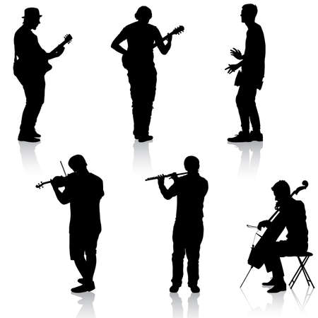 cellist: Silhouettes street musicians playing instruments Illustration