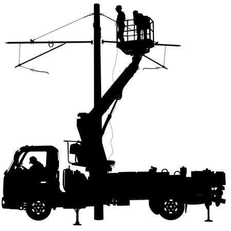 repairs: Electrician, making repairs at a power pole. Vector illustration.