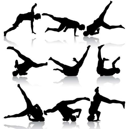 breakdancer: Silhouettes breakdancer on a white background. Vector illustration. Stock Photo