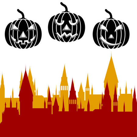 ghost house: Halloween pumpkin and castle tower. illustration.