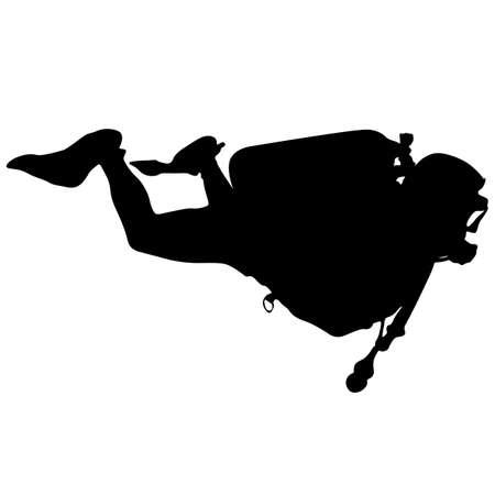 saboteur: Black silhouette scuba divers. illustration. Illustration