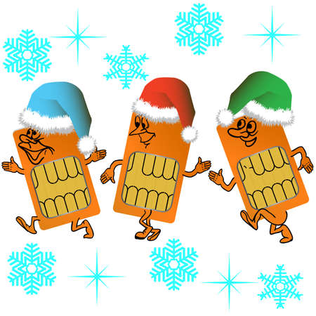 Three SIM cards go in santa outfit on a background of snowflakes