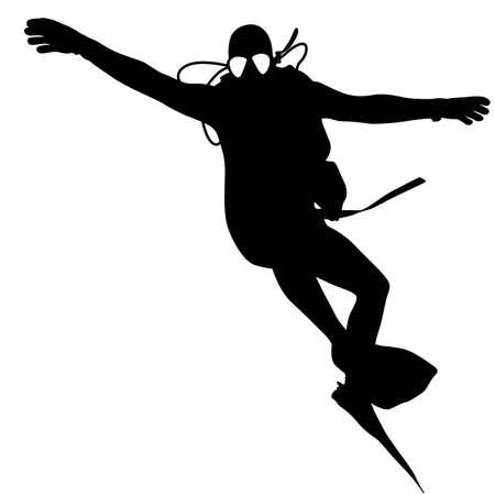 saboteur: Black silhouette scuba divers. Vector illustration. Stock Photo