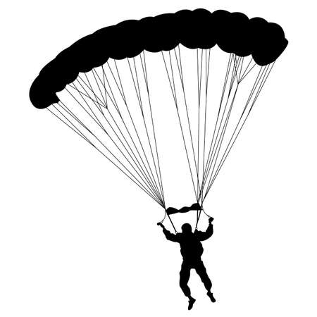 The Skydiver silhouettes parachuting a  illustration