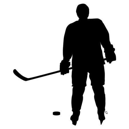 silhouette of hockey player. Isolated on white. illustrations.