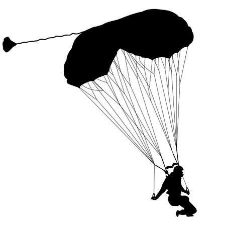 airplay: The Skydiver silhouettes parachuting a vector illustration Illustration