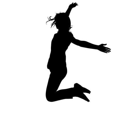 hands up: Silhouette young girl jumping with hands up, motion. Vector illustration.