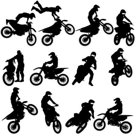 Set van biker motocross silhouetten, Vector illustratie. Stock Illustratie