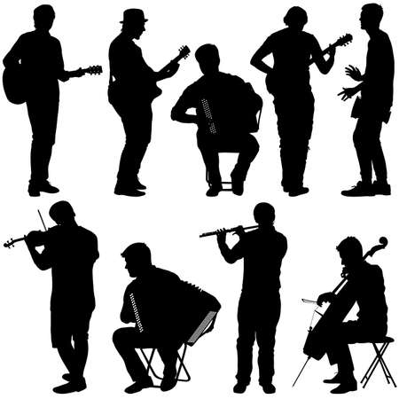 cellist: Silhouettes street musicians playing instruments. Vector illustration.