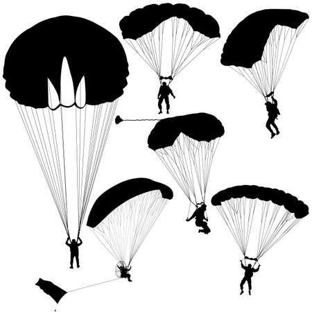 airplay: The Set skydiver silhouettes parachuting vector illustration.