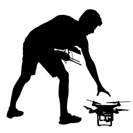 operates: Black silhouette of a man operates unmanned quadcopter vector illustration. Illustration