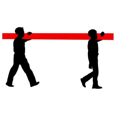 Silhouette de deux travailleurs de la construction portent pipe. Vector illustration.