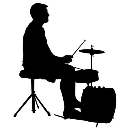 virtuoso: Silhouette musician drummer on white background