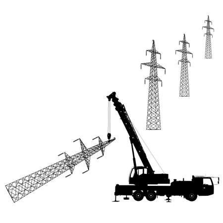 safety harness: Electrician, making repairs at a power pole Illustration