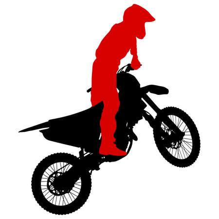 Silhouetten Reiter beteiligt Motocross Meisterschaft Illustration. Vektorgrafik