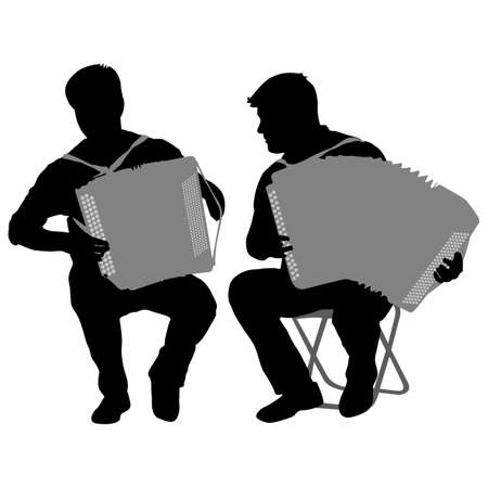 virtuoso: Silhouette of two musicians bayan on white background illustration.