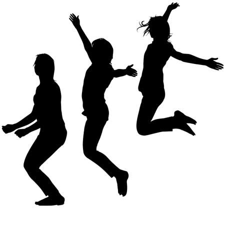 Silhouette of three young girls jumping with hands up, motion illustration.