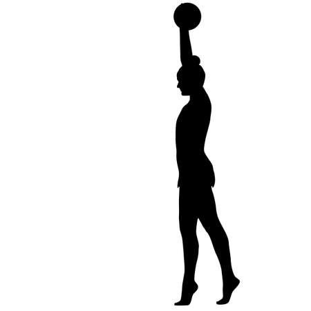 beauty contest: Silhouette girl gymnast with the ball illustration. Illustration