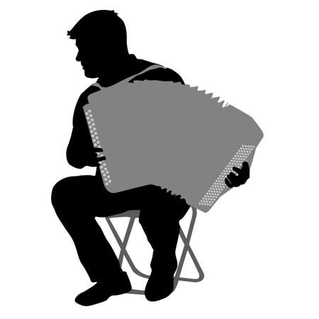 Silhouette musician, accordion player on white background, illustration. Illustration