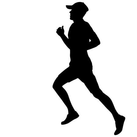 Silhouettes Runners on sprint men illustration. Illustration