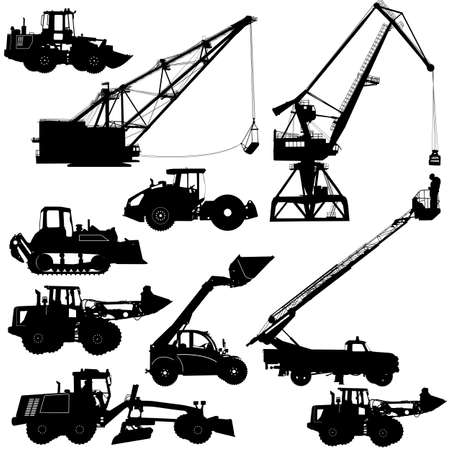 graders: Set of silhouettes construction machinery illustration.